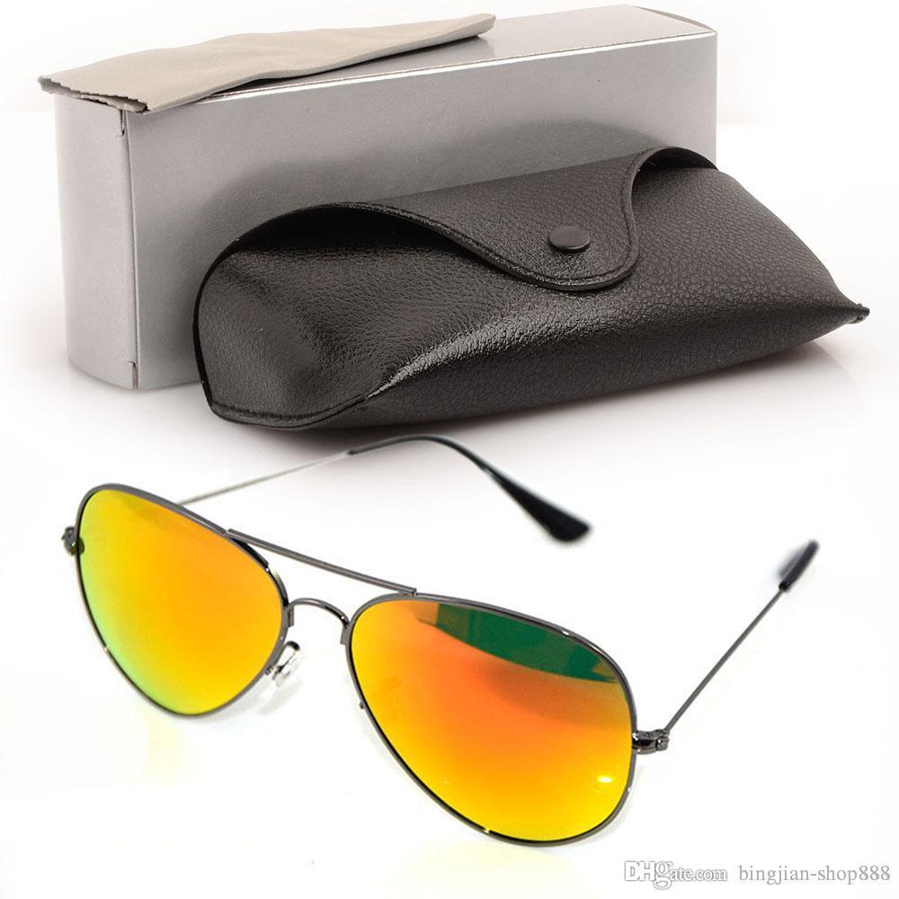 Yüksek Güneş Gözlükleri Kalite Gözlük Cam Güneş Kadınlar Ve Orijinal Ayna Kılıfları Güneş Gözlüğü Tasarımcılar Pilot ile 58mm Güneş Gözlüğü Mens Qdqg