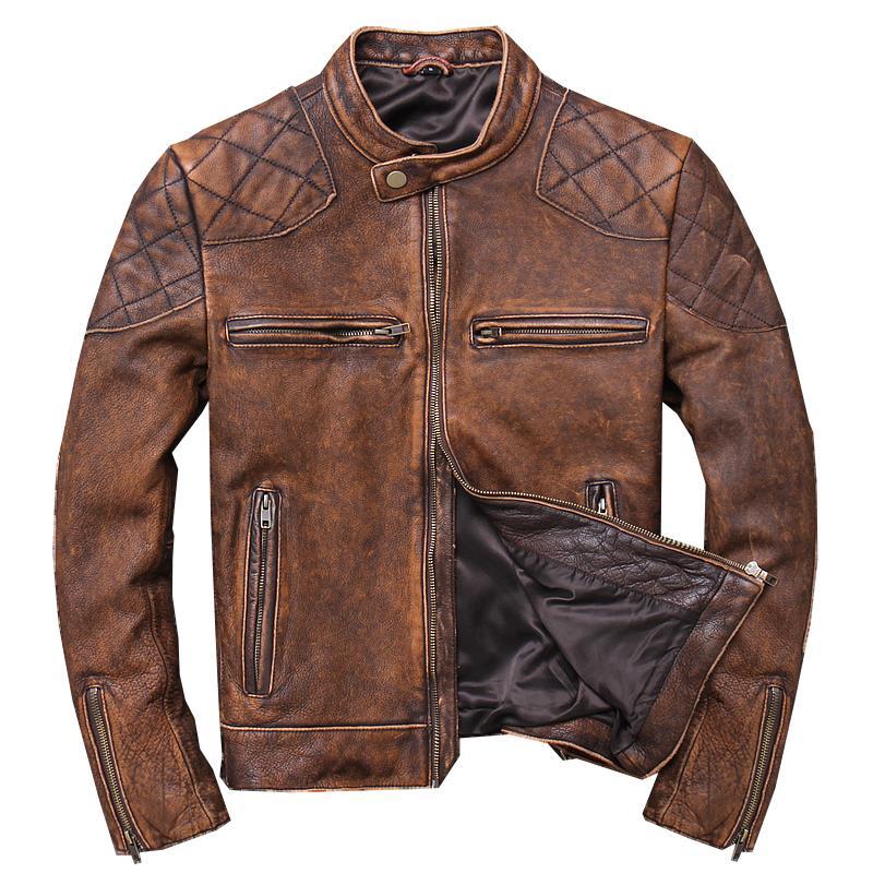 2019 Hakiki inek derisi Bahar Slim Fit Motosiklet Coat Vintage Kahverengi Erkekler Kısa Biker Deri Ceket Plus Size XXXL