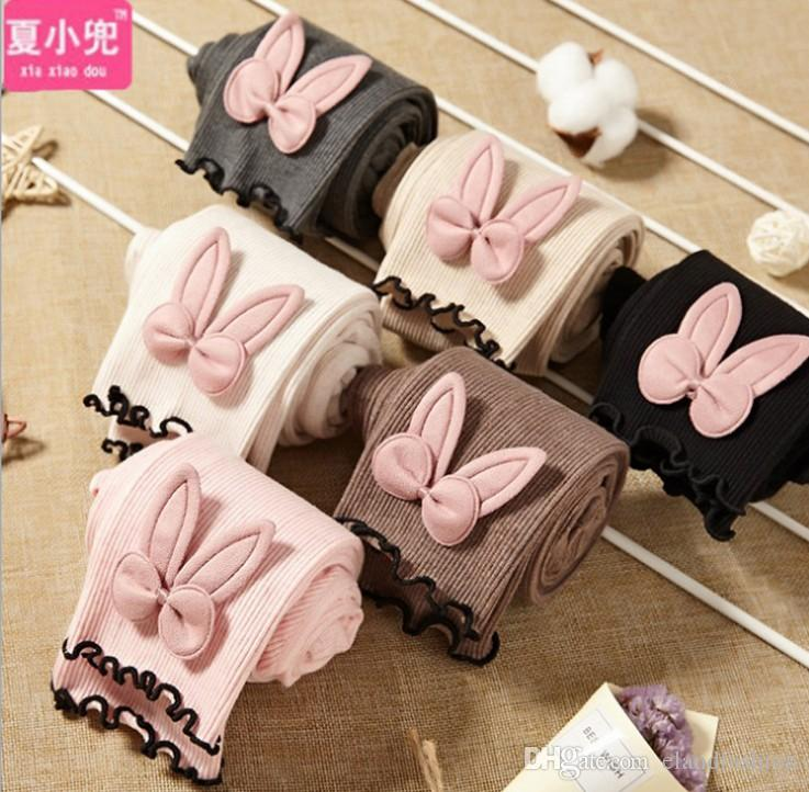 2019 Girls Ins Cute Rabbit Ear Soft Solid Leggings New Childrens Korean Style Sweet High Quality Cotton Long Tights Toddlers Pants
