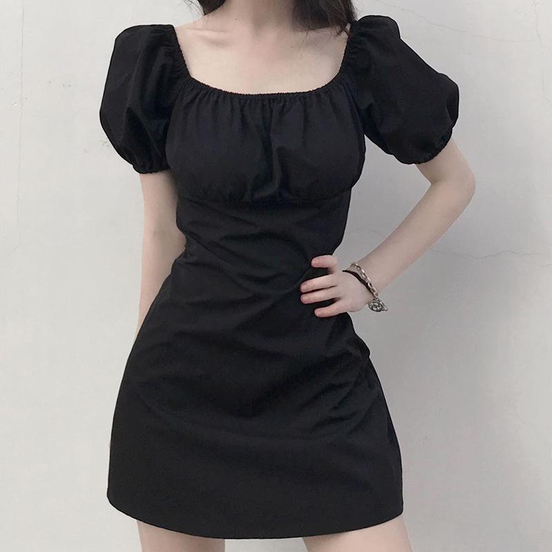 Vestido Mulheres Verão Novo 2020 das Mulheres Quadrado Preto Retro Collar Puff luva Casual A- pequena linha Black Dress Mulheres Roupa