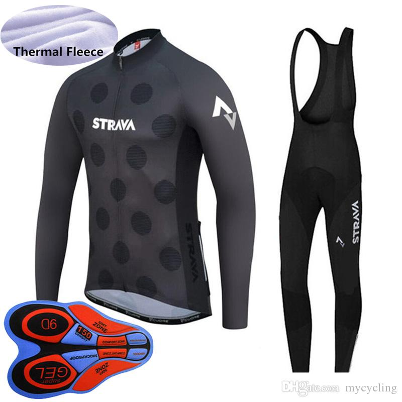 STRAVA Team Newest winter cycling clothing men long sleeve thermal fleece bike jersey bib pants set high quality bicycle sports suit Y092301