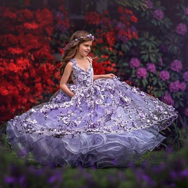 Splendida Soffici Abiti da sposa con 3D floreale Applique Lace-up ragazze compleanno Dress scollo a V Toddler Pageant Abiti