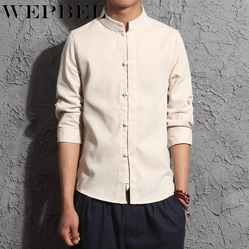 WEPBEL Chinese Traditional Männer T-Shirts Frühlings-Herbst-Tang-Anzug Männer Bluse Tops