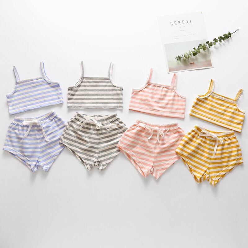 Pudcoco الوليد طفل طفلة الصبي مجموعة الملابس مخطط 2020 الصدرية جديد المحاصيل الأعلى السراويل الصيف الزي مجموعة