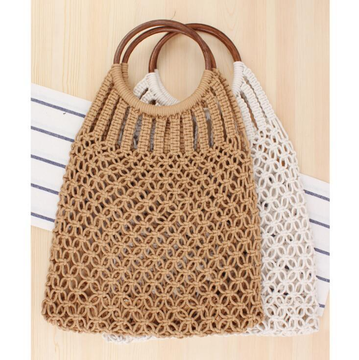 Factory wholesale women handbag summer new solid color rattan hand woven bag forest is handmade cotton rope net bag holiday beach bag women