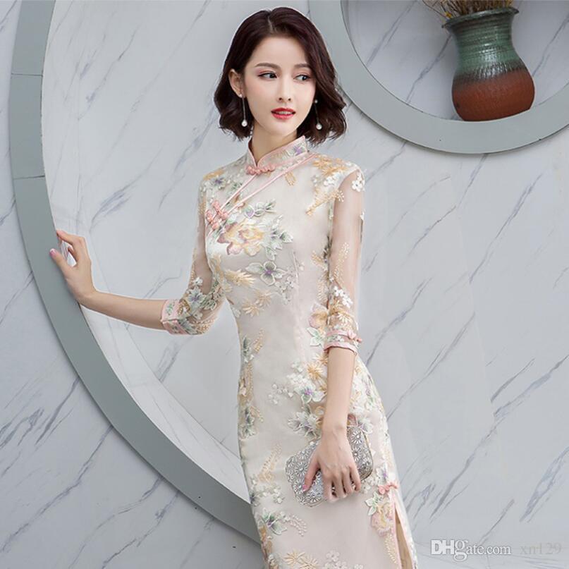 Cheongsam 2019 Sommer neue gediegene Atmosphäre täglich Damen langen Abschnitt schlank abnehmen Mädchen Kleid weiblich