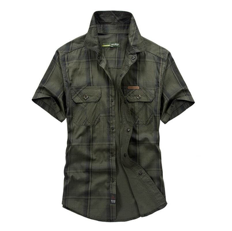 Plus Size 5XL 100% Cotton Chemise Homme Original Brand Clothing Men Chemise Homme Plaid AFS JEEP Shirts Cargo military WY826