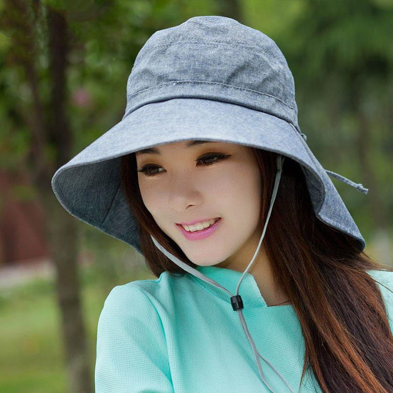 New Fashion Women Floppy Cotton Sun Hat With Bow Wide Large Brim Cap Summer Beach Foldable Neck Anti-Ultraviolet Hats