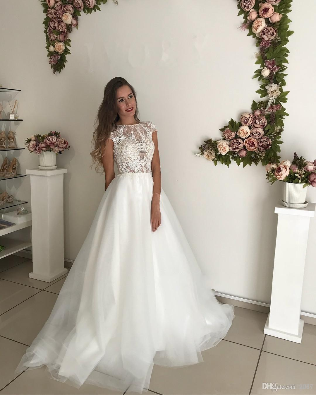 Fairy Lace Tulle Beach Wedding Dresses with Short Sleeve Modest Jewel Neck Sweep Train Summer Holiday Informal Bridal Gown