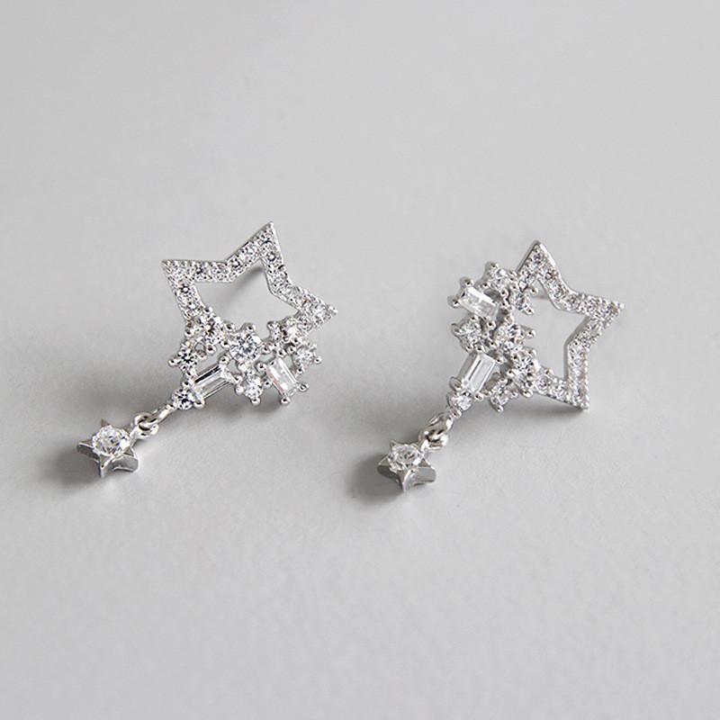 Gerçek 925 Ayar Gümüş Zarif Küpe Kıvılcım Yıldız Mikro Kaplamalı Temizle Zirkon Kadınlar Bırak Dangle Küpe Takı YME284