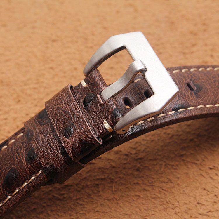 Correa de cuero adecuado para Peihai PAM111, etc. cuero de caballo loco grueso y largo 22/24 / 26mm