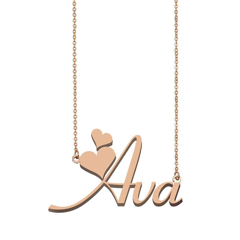 Collana Ava Nome per le donne fidanzata regali personalizzati targa bambini Best Friends dei monili 18K placcato oro in acciaio inox