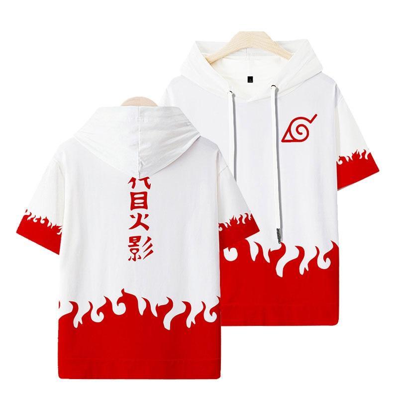 Unisex Anime NARUTO 3D-Druck mit Kapuze Kurzarm T-Shirt T-Shirt-Oberseite