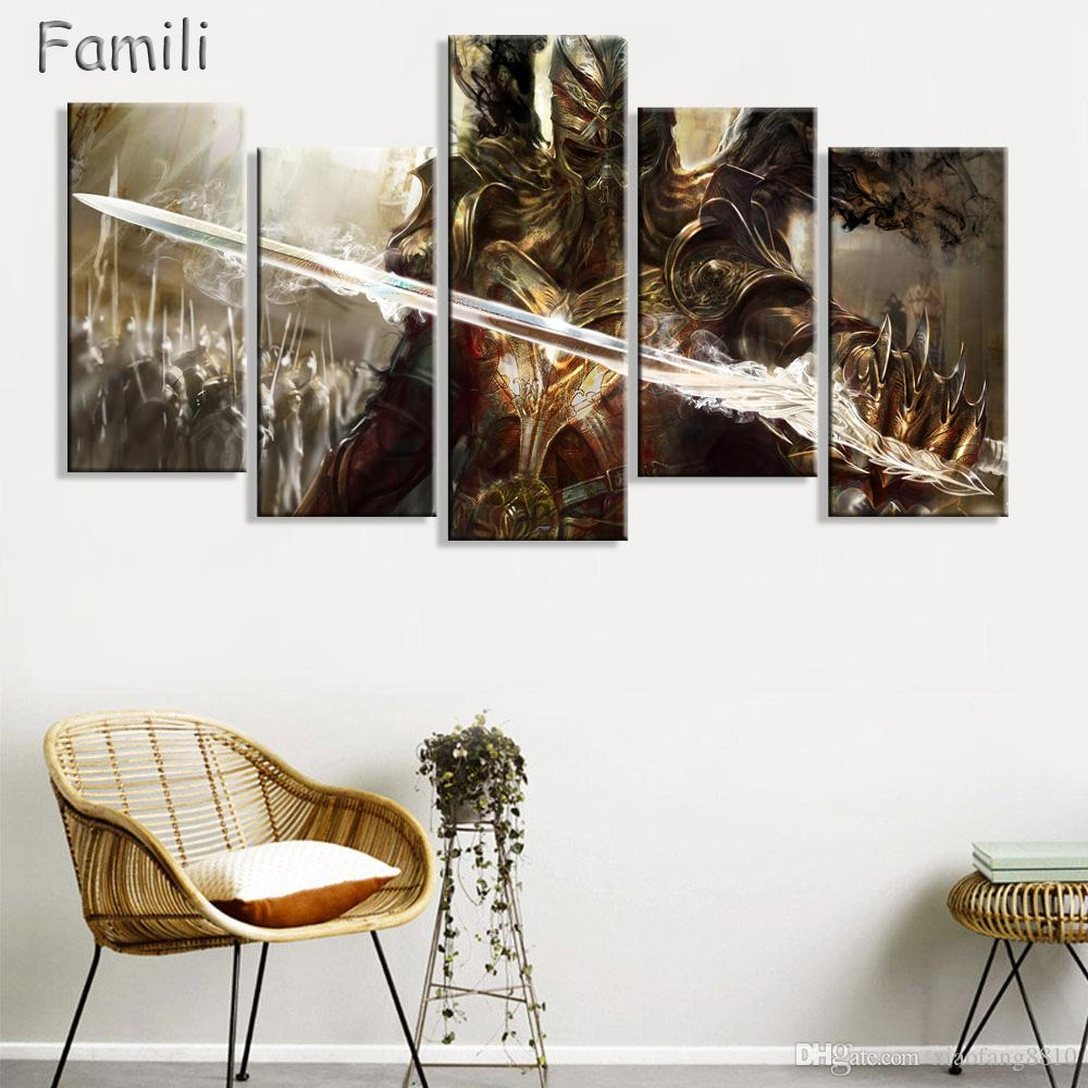 5Pieces large HD printed oil painting Angel Girl canvas print art home decor idea wall art pictures for living room