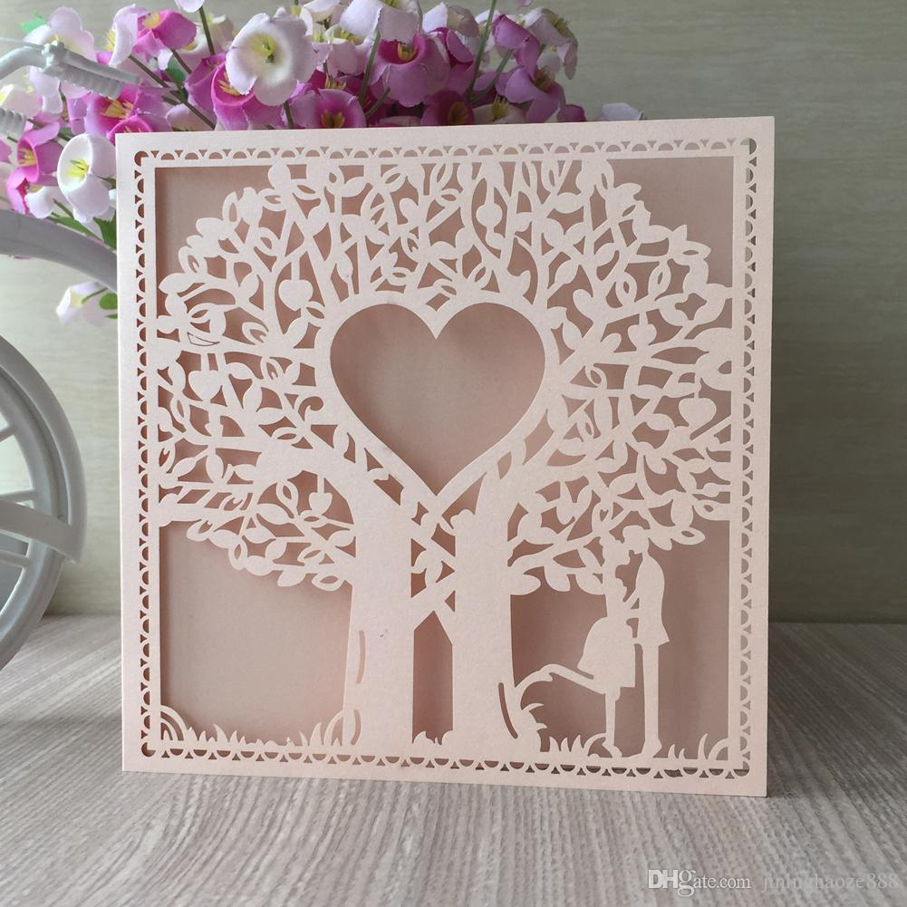Sweet Invitation Cards Exquisite Design With Hollow Laser Cut Invitation Cards Valentine's Day Theme Party Supplies