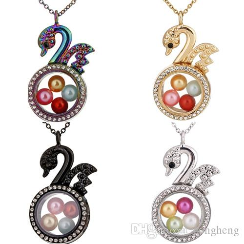"4 Colors Circular Elegant Little swan Rhinestone Magnetic Glass Floating Locket Pendants Women Charms 20"" Necklace"