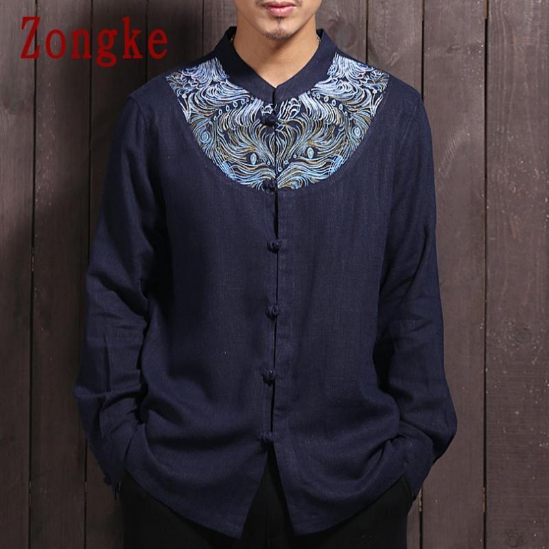 Zongke 2020 Nouveau printemps Lin hommes Shirt Vêtements Homme Slim Fit coton à manches longues Chemises hommes Mode Marque Taille Plus M-4XL