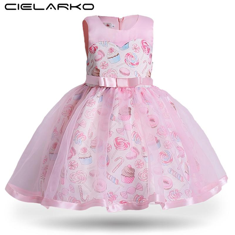Cielarko Princess Girls Dress Pink Birthday Wedding Party Baby Dresses Fancy Candy Cupcake Children Frocks For 2-10 Years Girl J190505