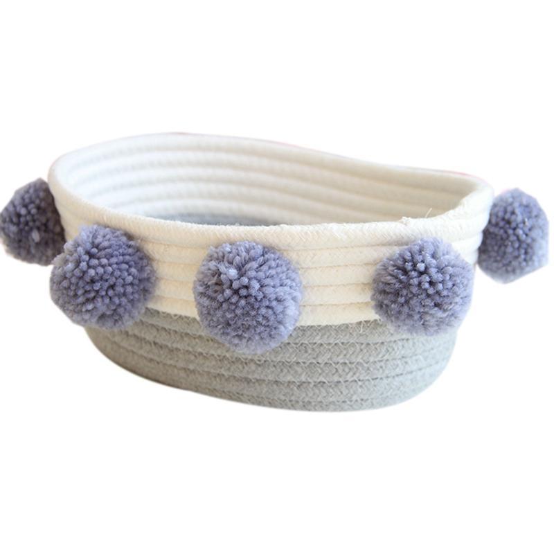 VENDITA CALDA Woven Basket archiviazione Carino Pompoms decorativo detriti finitura box nordici cosmetici Jewelry Box di stoccaggio telaio