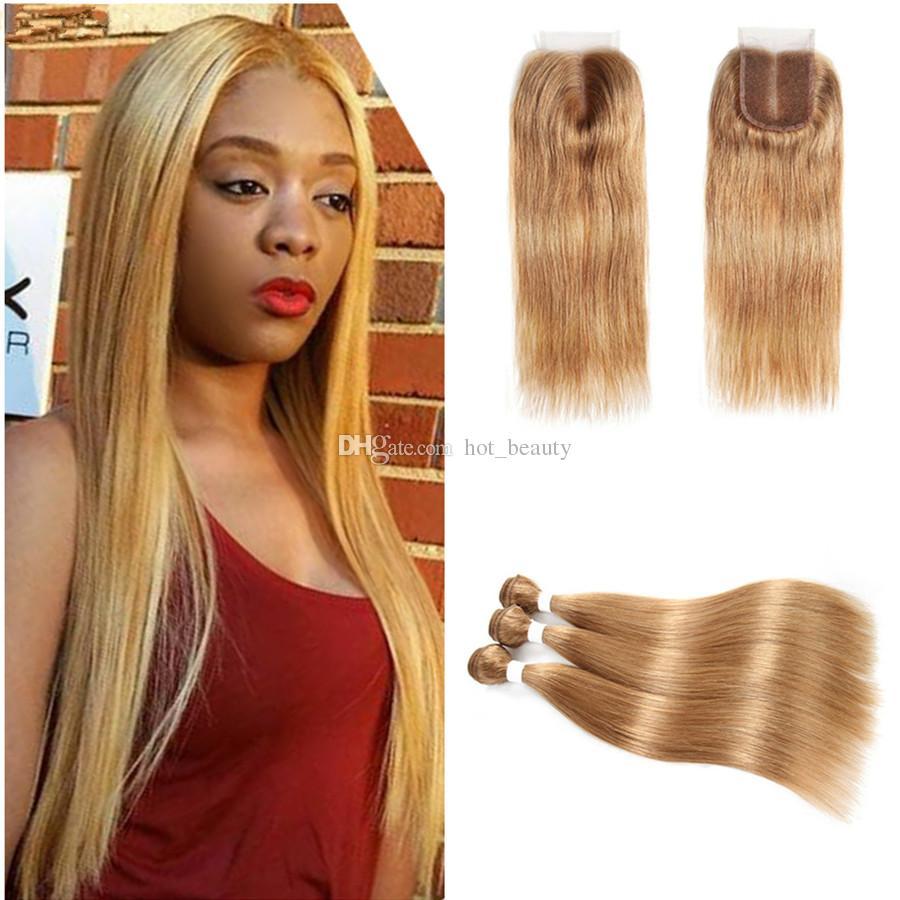 # 27 Пучки медового блонда с застежкой Шелковистые прямые наращивание человеческих волос