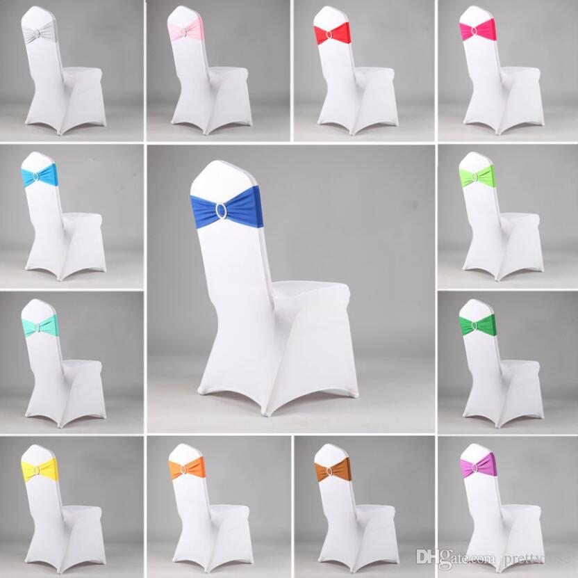 Colorful Stretch Chair Back Hoop Free Bow For Wedding Bowknot Banquet Elastic Festival Supplies Party Decoration Cover Hotel 16 Colors