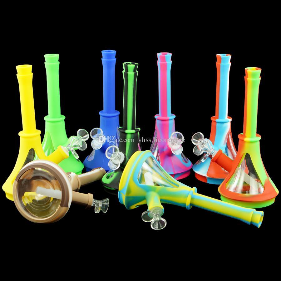 "10"" bong beaker Glass Bongs Heady water Pipe kits shisha hookah thick glass Dab Rig silicone smoking Tobacco Pipe Portable"
