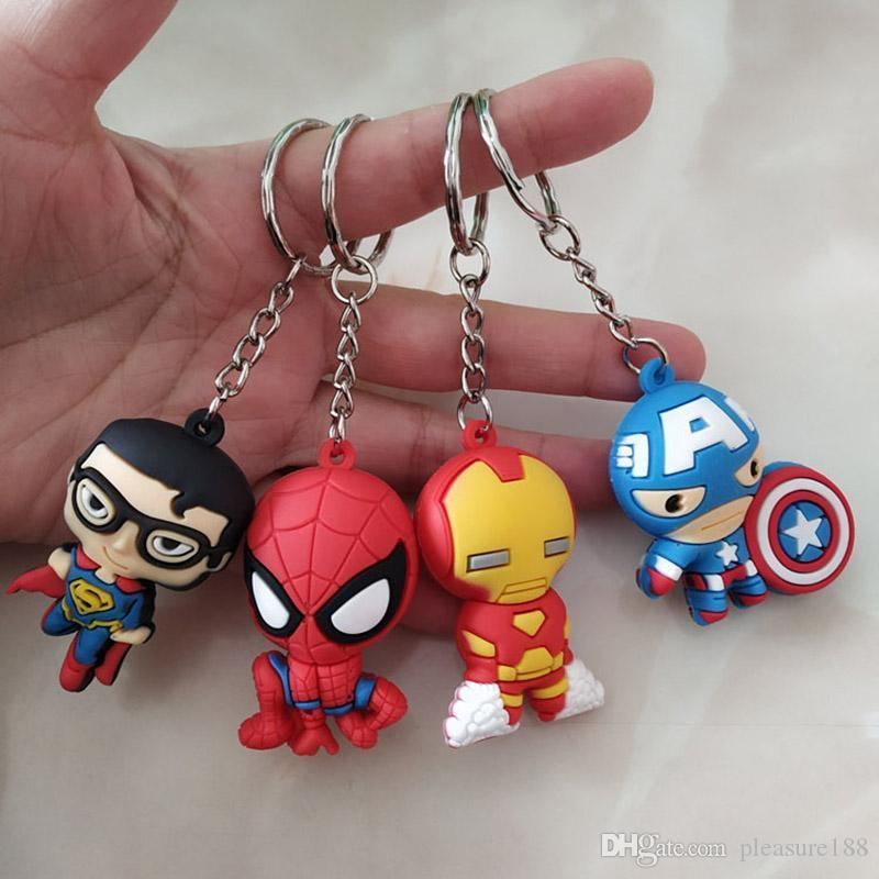 2019 new The Avengers Figures Keychains The Avengers Marvel Iron Man Captain America Iron Man Super-man PVC keychain kids toys 11