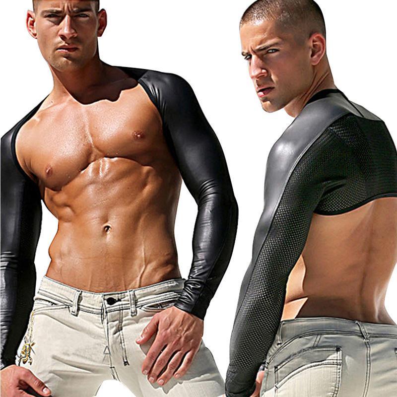 플러스 사이즈 라텍스 섹시한 바디 수트 Catsuit 몸은 남성 긴 소매 DJ 클럽이 몸을 블랙 메쉬 Catsuit 남성 섹스 제품 장갑 착용 정장