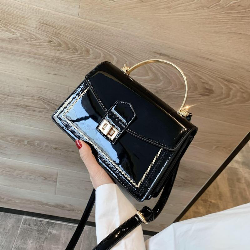 New Fashion Handbags with Iron Handle Patent Leather Crossbody Bags for Women Casual Ladies' Small Shoulder Messenger Flap Bag