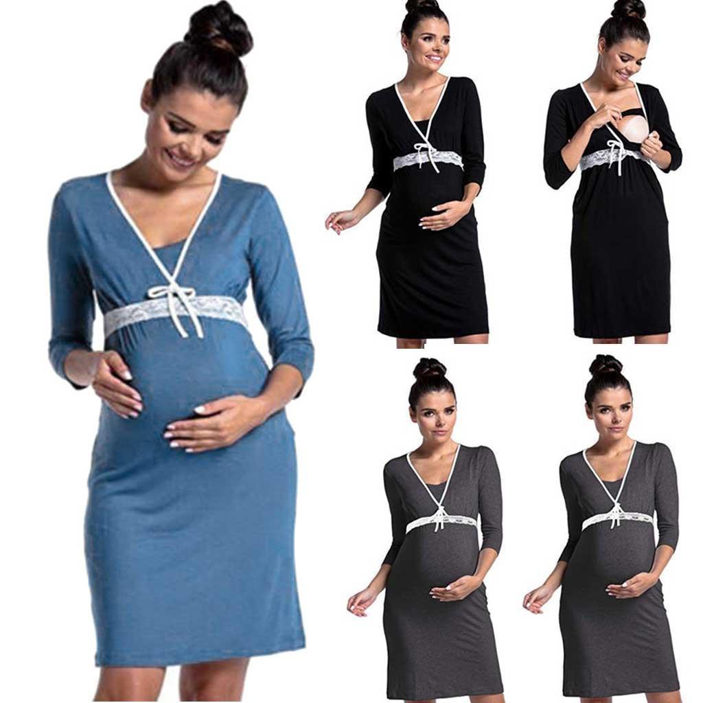 Embarazo Lactancia Vestido Casual Mujer Madre Verano Vestidos Sólido Enfermería Embarazo Vestidos Ropa Premama Verano Vestido 2019