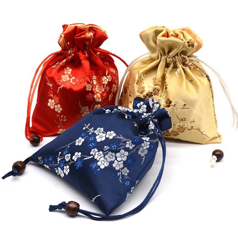 12x15cm الرباط هدايا حقائب حفل زفاف عيد الميلاد تغليف الحقائب مجوهرات كيس حقيبة النمط الصيني الحرير القماش الصغيرة