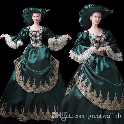 Verde oscuro con lentejuelas bordado de lujo reina rococó corte real vestido de fiesta con sombrero Vestido medieval Vestido renacentista Victorian Belle Ball