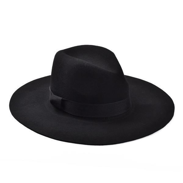 Atacado-Moda Vintage Lady Meninas Wide Brim Wool Feltro Chapéu Fedora preto Floppy Cloche, chapéu de cowboy para homens e mulheres Frete Grátis