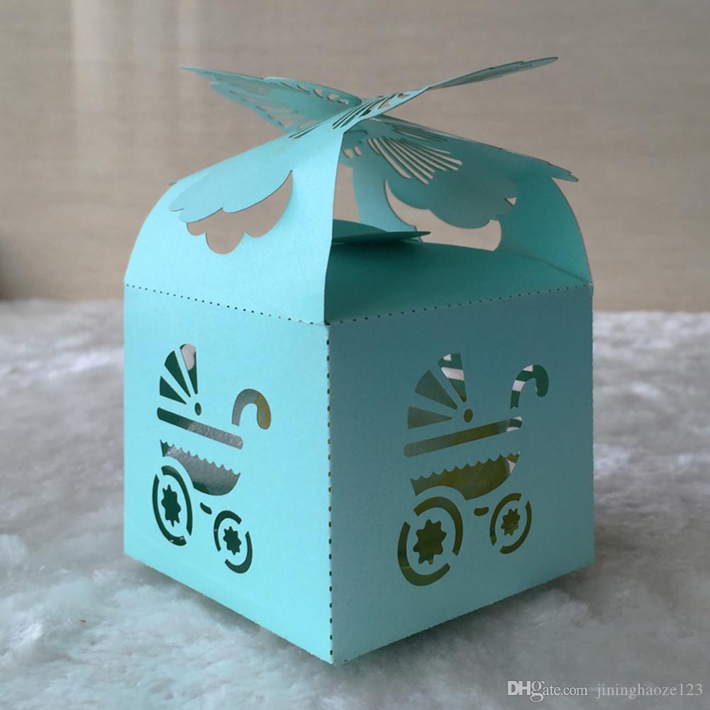 Personalizado Azul cravo flor do chuveiro do bebê de Corte A Laser de Chocolate Doce Caixas De Presente De Noiva caixa de Aniversário com fitas lembranças do casamento do país