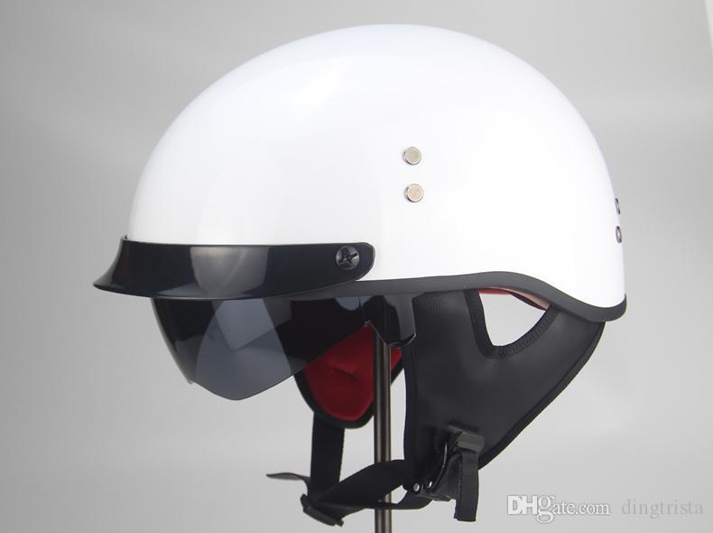 Casco de moto TKOSM Cascos Para Moto Open Half face Casco Moto Vintage Jet Capacetes de Motociclista con doble lente