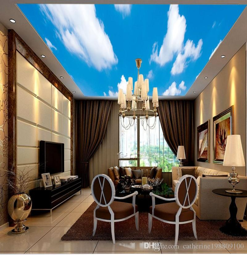 Custom Photo Zenith ceiling mural blue sky and white clouds Ceiling Mural Paintings Living Room Ceiling Wallpaper Papel Pintado Pared