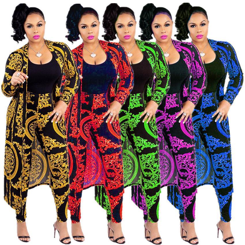 Mulheres cloak pants 2 peça set Designer de impressão em cadeia de ouro preto sexy slim senhoras manga comprida Cardigan casaco leggings maternidade Bottoms LJJA2572