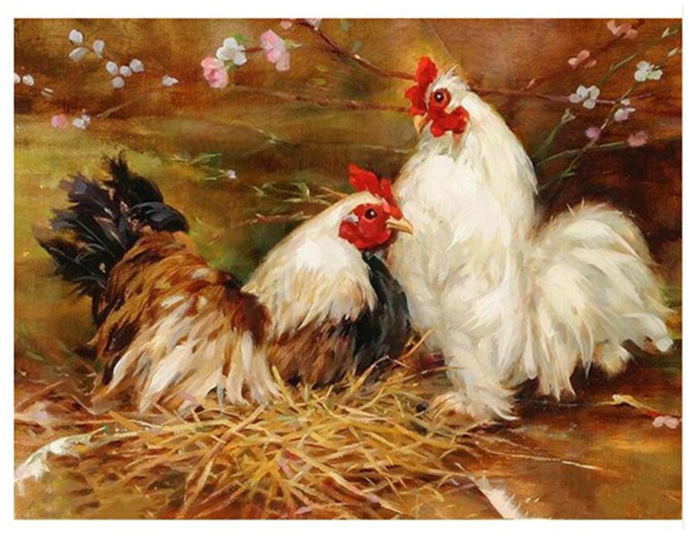 "Pintura de bricolaje con números Kits de pintura para adultos pintados a mano, pintura al óleo de pollo 16 ""x20"""