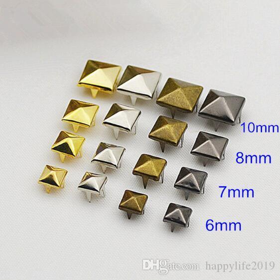 6mm / 7mm quadratische Pyramidenklauenniete für DIY Taschen, Kleidung, Schuhe, Gold / Silber / Bronze / Schwarz, dekorative Nieten