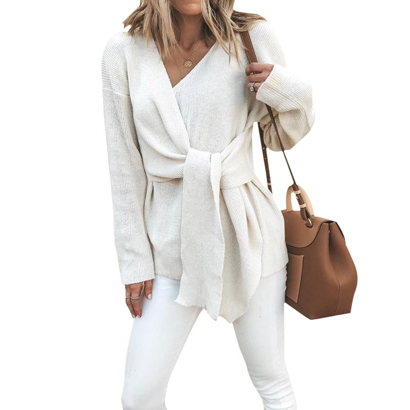 Frauen V-Ausschnitt Tie Langarm Pullover Fashion Solid Color 2020 Frühling Herbst Damen Pullover Großhandel Tropfen New