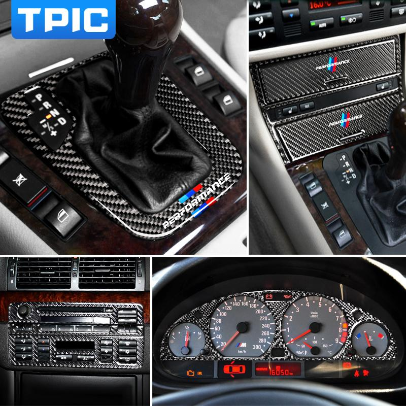 Fibre de carbone intérieur Autocollants voiture de contrôle central Panneau de CD Couvercle du pignon Garniture lampe Sourcils Autocollants Pour BMW E46 1998-2004 3 séries