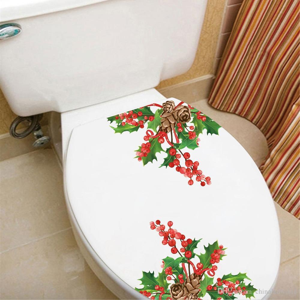 Рождественский ПВХ туалет холодильник стикер стены