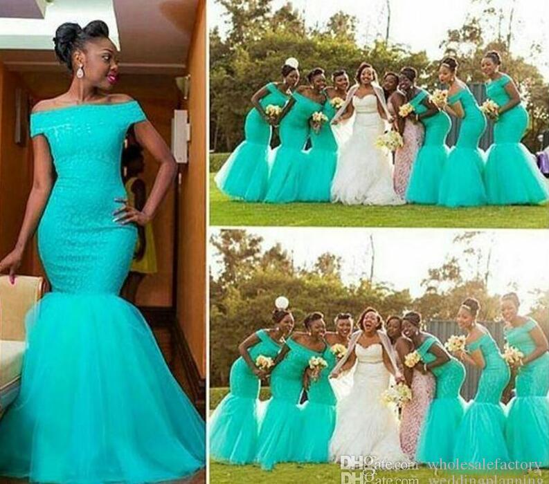 Afrikansk Bateau Neck Tulle Mermaid Long Bridesmaid Dresses Lace Topp Golv Längd Formell Kappor Bröllop Guest Maid of Honor Dress BM0180
