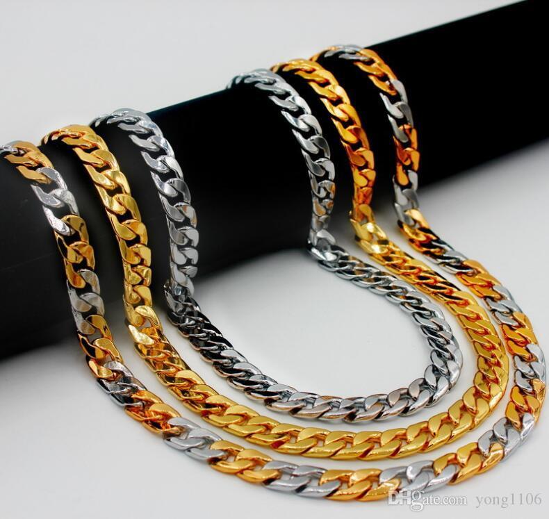 Nuevo diseño de lujo de la moda cubana cadena del suéter del collar de hip-hop de la personalidad exageración de 18 quilates de vacío suéter cadena collar plateado