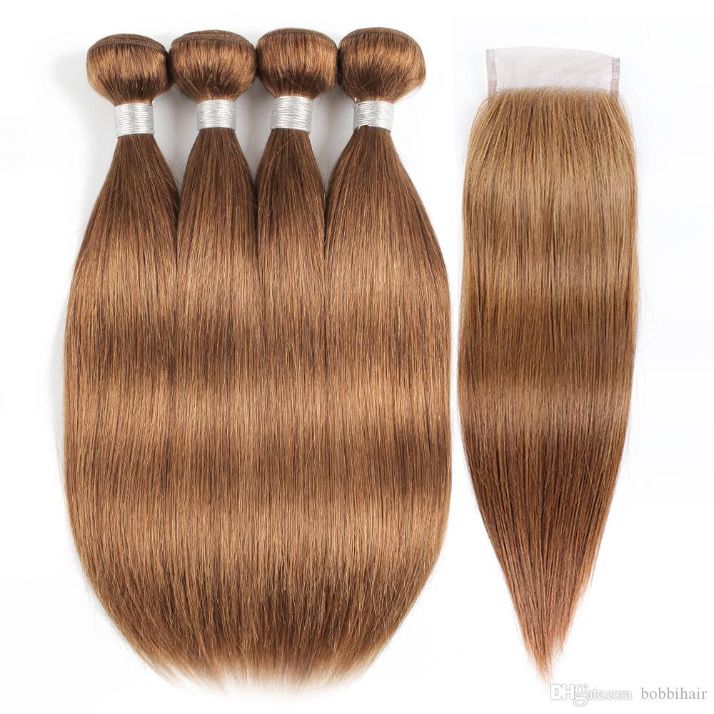 # 30 Medium Auburn Human Пучки волос с Closure бразильская прямо человеческих волос 16-24 дюймов 3 или 4 пачки с 4x4 Lace Closure