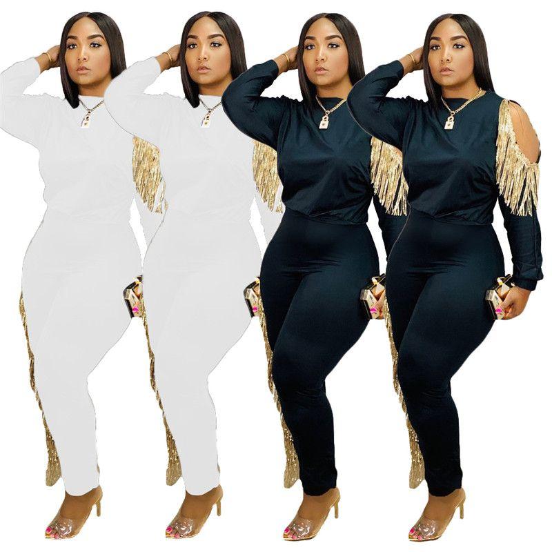 Plus-Größe 2XL Frauen Quasten zwei Stücke Satz Mode Quasten crop top + Hosen lässige weiß schwarzen Outfits im Freien sweatsuits sexy Kleidung 2017