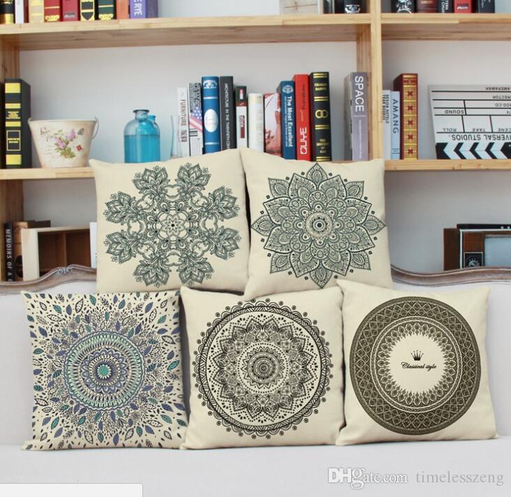 As flores florescem fronhas padrão de grão fino 3D flor impressão de cobertura de linho fronha Home office almofada