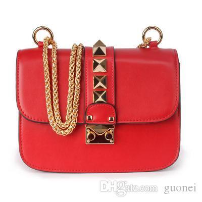 Crossbody дизайнерские сумки заклепки высокого плеча итальянские сумки дизайнер-роскошная кожа для цепной цепи подлинные сумки качества женщины валентинские сумки KVCB