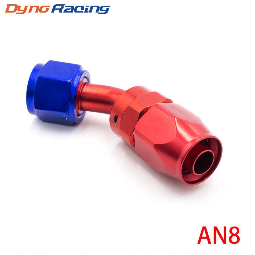 Высокопроизводительные Установка AN08 Алюминий фитинги 45 градусов масла / топлива / Swivel фитинги шланга Шланг концевой заделки TT100353-4