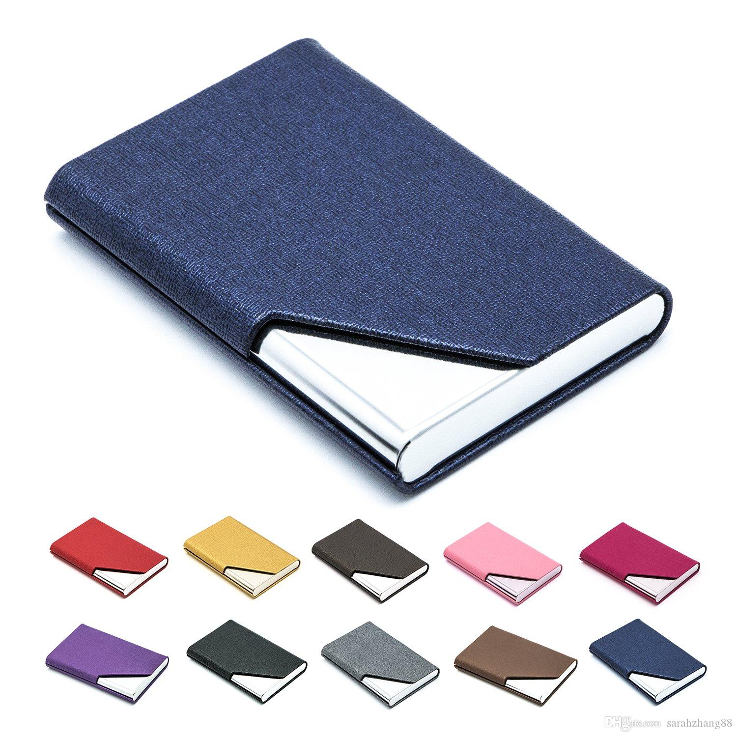 Business Name Card Holder Luxury PU Leather & Stainless Steel Multi Card Case,Business Name Card Holder Wallet for Men & Women